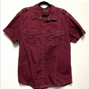 G By Guess Mens Button down Shirt Burgundy